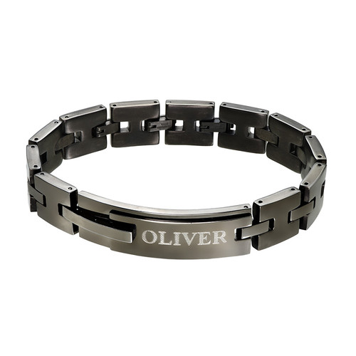 Black Stainless Steel Man Bracelet with Engraving