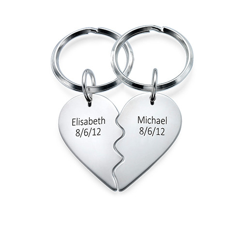 Breakable Heart Keychain in Sterling Silver - 1