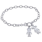 Charm Bracelet with Kids Pendants