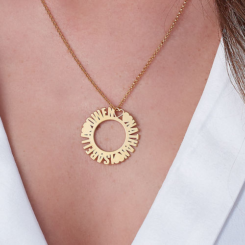 Circle Name Necklace in Gold Plating - 2