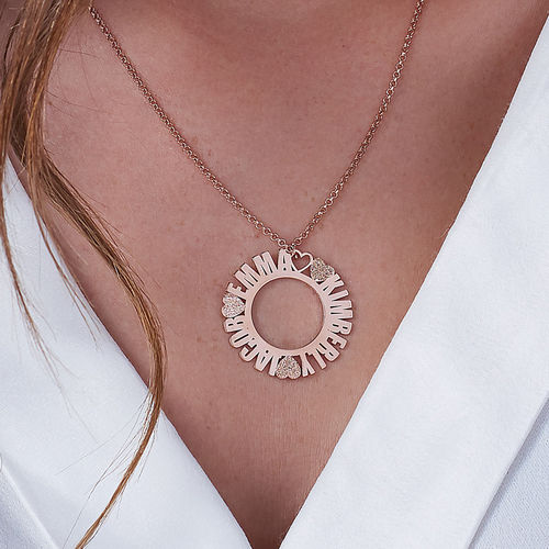 Circle Name Necklace in Rose Gold Plating with Diamond Effect - 2
