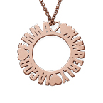 Circle Name Necklace in Rose Gold Plating