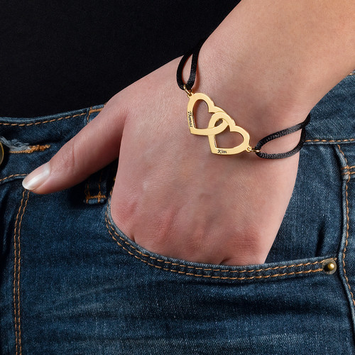 Couples Heart Charm Bracelet in Gold Plating - 2