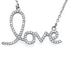 Cubic Zirconia LOVE Pendant Necklace