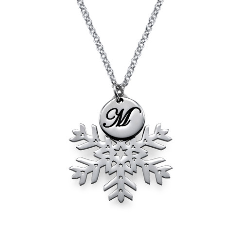 Cut Out Silver Snowflake Necklace with Initials - 1