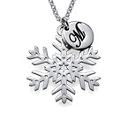 Cut Out Silver Snowflake Necklace with Initials