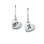 Dangling Initial Heart Earrings
