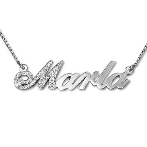 Diamond Capitalized Letter 14k White Gold Name Necklace