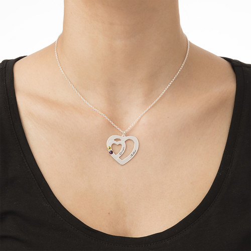 Double Heart Necklace with Birthstones - 2