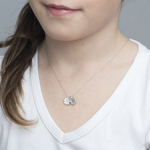 Enamel Flower Necklace for Kids with Initial Charm - 2