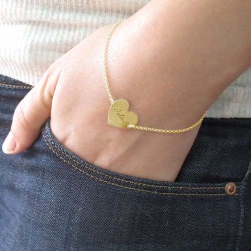 Engraved Heart Couples Bracelet in 18k Gold Plating - 3