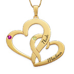 Engraved Two Heart Necklace - 14k Gold