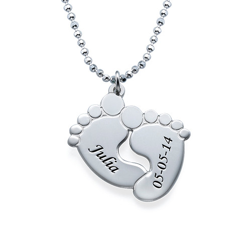 Engraved Baby Feet Necklace in Sterling Silver