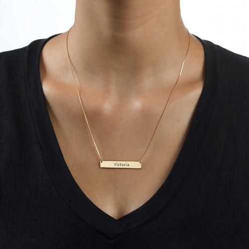 Engraved Bar Necklace in 10k Gold - 1