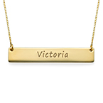 Engraved Bar Necklace in 10k Gold