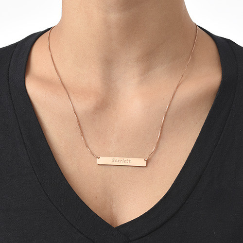 Engraved Bar Necklace with Rose Gold Plating - 1