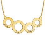 Engraved Circles Necklace with Gold Plating
