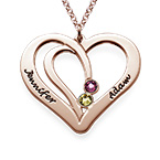 Engraved Couple Birthstone Necklace - Rose Gold Plated