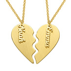 Engraved Couple Heart Necklace in Matte Gold Plating