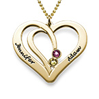 Engraved Couples Birthstone Necklace in 10K Solid Gold