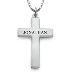 Engraved Cross Necklace for Men