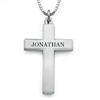 Engraved Cross Necklace for Men