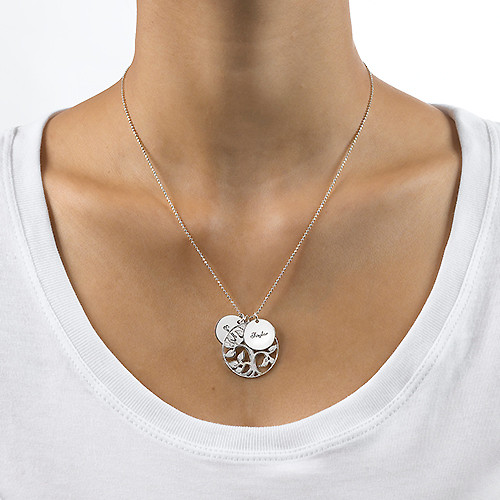 Engraved Discs Tree of Life Necklace - 2