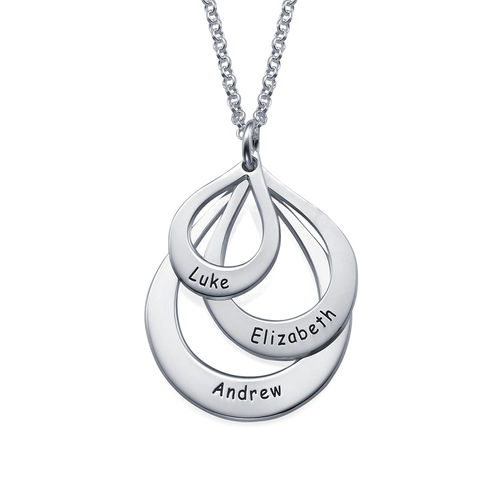 Engraved Family Necklace  Drop Shaped - 1