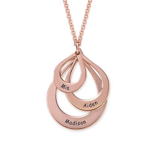 Engraved Family Necklace Drop Shaped in Rose Gold Plating - 1