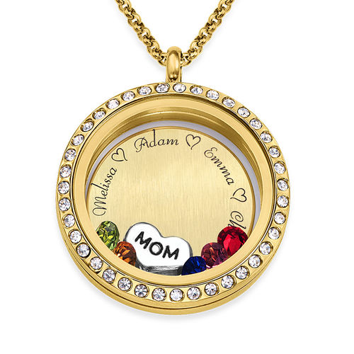 "Engraved Floating Charms Locket - ""For Mom or Grandma"" with Gold Plating"