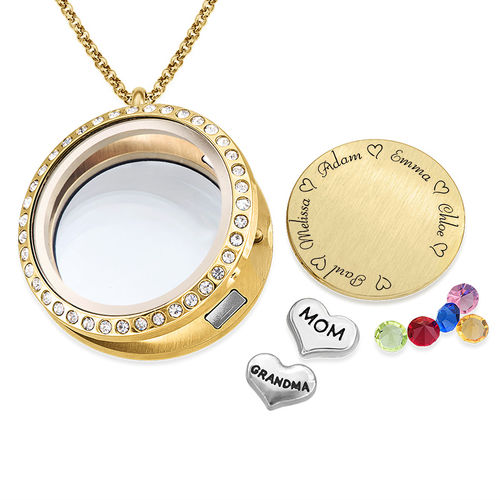 "Engraved Floating Charms Locket - ""For Mom or Grandma"" with Gold Plating - 1"