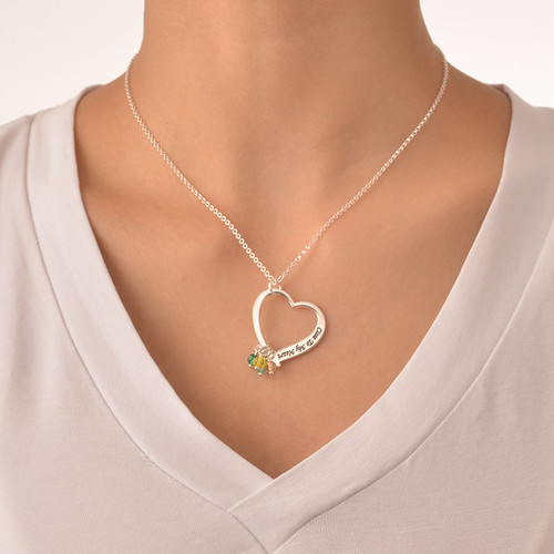 Engraved Heart Pendant Necklace with Birthstones - 2
