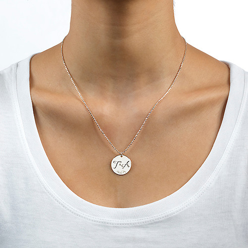 Engraved Initial Necklace with Special Date - 1