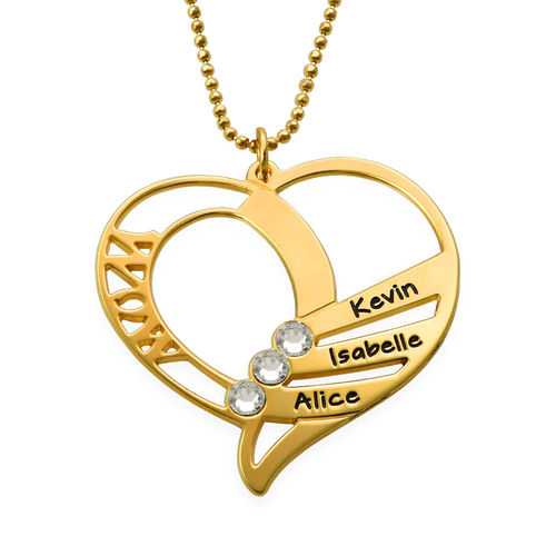 Engraved Mom Birthstone Necklace  - Gold Plated - 2