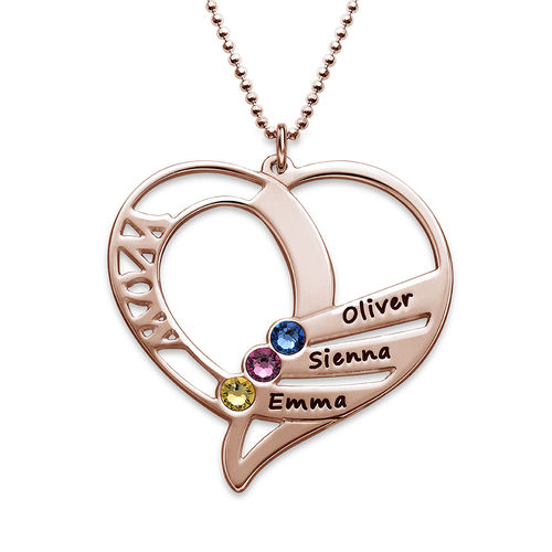 Engraved Mom Birthstone Necklace - Rose Gold Plated - 1