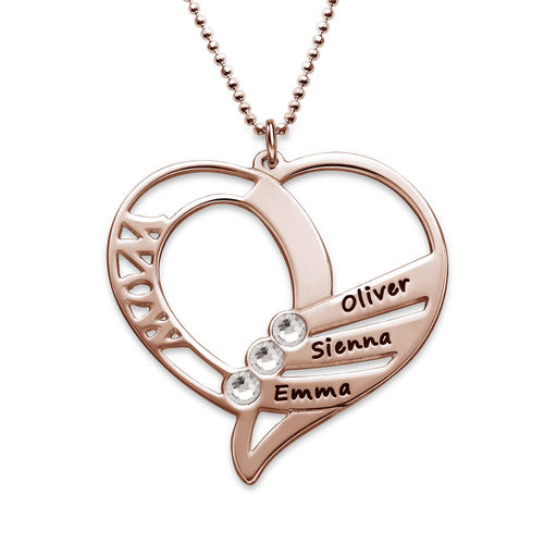 Engraved Mom Birthstone Necklace - Rose Gold Plated - 2