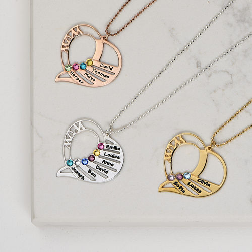 Engraved Mom Birthstone Necklace in 10K Yellow Gold - 2