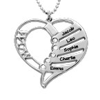 Engraved Mom Necklace with Diamonds in Silver Sterling