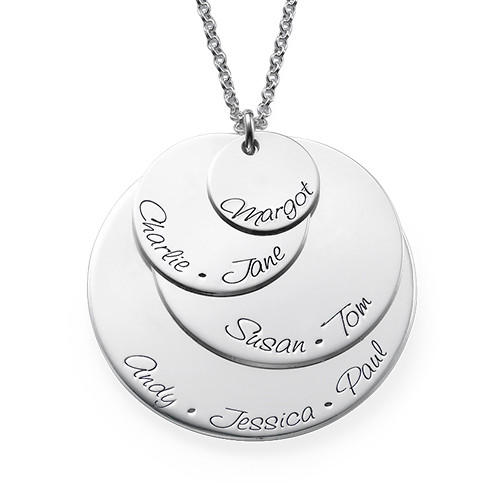 Engraved Mom Necklace with Four Discs - 1