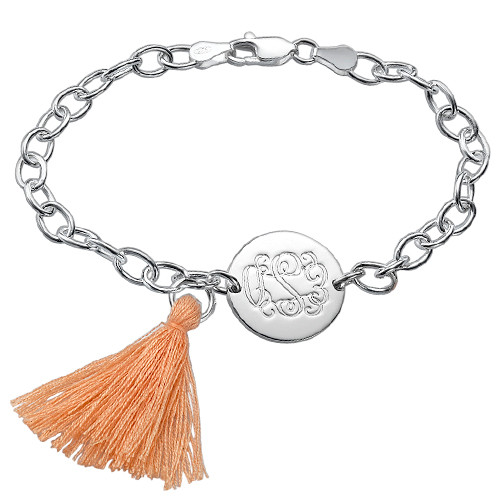 Engraved Monogram Bracelet with Tassel Charm