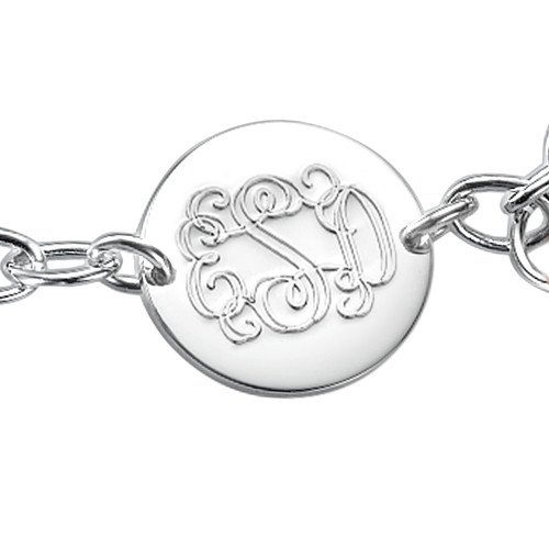 Engraved Monogram Bracelet with Tassel Charm - 1