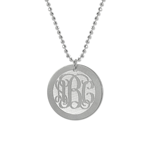 Engraved monogram necklace on a silver disc charm mynamenecklacecanada engraved monogram necklace on a silver disc charm mozeypictures Choice Image