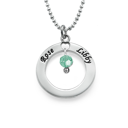 Engraved Classic Circle Necklace with Birthstones - 1