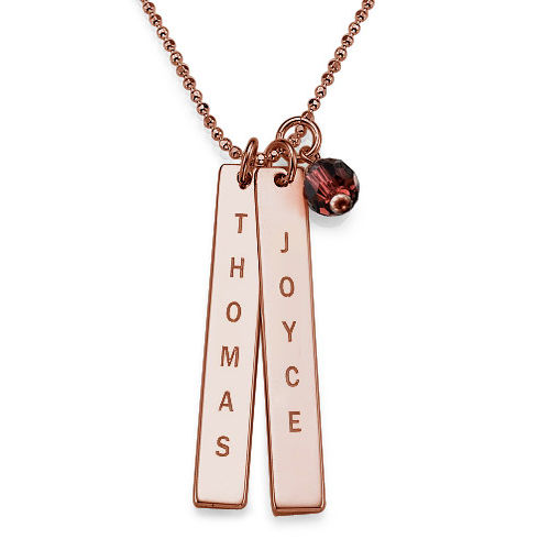Engraved Name Tag Necklace with Freshwater Pearl - Rose Gold Plated - 1
