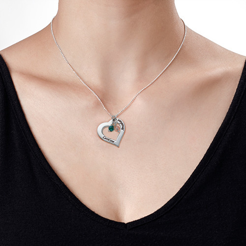 Engraved Necklace with Hollow Heart - 1