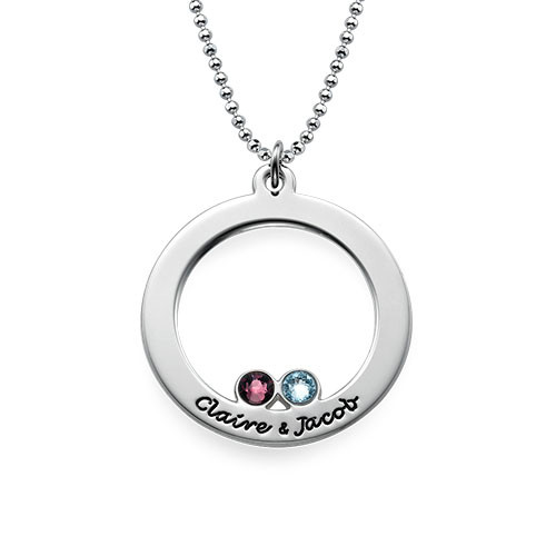 Engraved Silver Circle and Birthstones Necklace