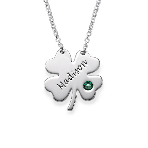 Engraved St. Patrick's Day Four Leaf Clover Necklace