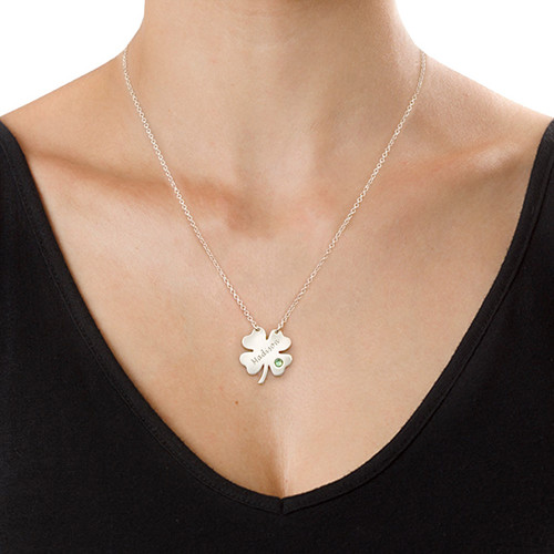 Engraved St. Patrick's Day Four Leaf Clover Necklace - 1