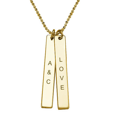 Engraved Vertical Bar Necklace in 10K Solid Gold - 1