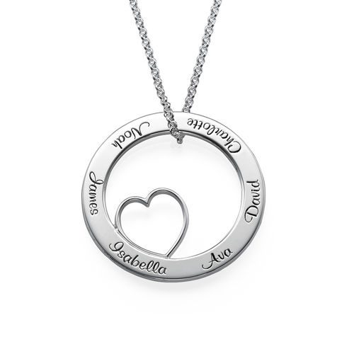 Family Love Circle Pendant Necklace